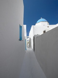 White Street and Church in Santorini (Thira), Cyclades, Greek Islands, Greece, Europe Photographic Print by Sakis Papadopoulos