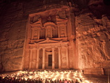 Nightime Tourist Show in Candlelight, in Front of the Treasury (El Khazneh), Petra, Jordan Photographic Print by Donald Nausbaum