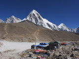 Gorak Shep Lodges, Kala Pattar and Pumori, 7165M, Sagarmatha National Park, Himalayas Photographic Print by Christian Kober
