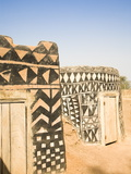 Geometric Design on Mud Brick Dwellings in Tiebele, Burkina Faso, West Africa, Africa Photographic Print by Donald Nausbaum