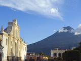 Volcan De Agua, 3765M, and Cathedral, Antigua, UNESCO World Heritage Site, Guatemala Photographic Print by Christian Kober