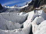 Climber, Mer De Glace Glacier, Mont Blanc Range, Chamonix, French Alps, France Photographic Print by Christian Kober