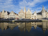 Reflection of Waterfront Town Houses, Ghent, Flanders, Belgium, Europe Photographic Print by Christian Kober
