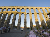 Restaurant Under the 1St Century Roman Aqueduct, Segovia, Madrid, Spain, Europe Photographic Print by Christian Kober