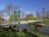 Pedestrian Suspension Bridge Over River Severn, the Quarry Park, Shrewsbury, Shropshire Photographic Print by Peter Barritt
