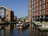Canal Boat Entering Granary Wharf, Leeds Liverpool Canal, Leeds, West Yorkshire, England, Uk Photographic Print by Peter Richardson