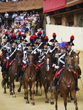 Horses and Guards Parading at El Palio Horse Race Festival, Piazza Del Campo, Siena, Tuscany, Italy Photographic Print by Christian Kober