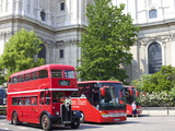 Traditional Bus Outside St. Pauls Cathedral, London, England, United Kingdom, Europe Photographic Print by Michael Kelly