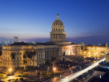 Capitolio Nacional Illuminated at Night, Central Havana, Cuba, West Indies, Caribbean Photographic Print by Christian Kober