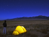 Hiker and Tent Illuminated Under the Night Sky, Great Sand Dunes National Park, Colorado, USA Photographic Print by Christian Kober