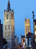 Belfort Belfry and St. Baafskathedraal (St. Baafs Cathedral), Ghent, Flanders, Belgium, Europe Photographic Print by Christian Kober