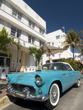 Classic Antique Thunderbird, Art Deco District, South Beach, Miami, Florida, USA Photographic Print by Richard Maschmeyer