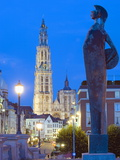 Night Illumination, Tower of Onze Lieve Vrouwekathedraal, Antwerp, Flanders, Belgium, Europe Photographic Print by Christian Kober