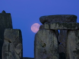 Moon Behind Stonehenge, UNESCO World Heritage Site, Wiltshire, England, United Kingdom, Europe Photographic Print by Charles Bowman