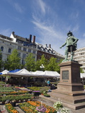Flower Market and Statue of Christian Iv, Oslo, Norway, Scandinavia, Europe Photographic Print by Christian Kober