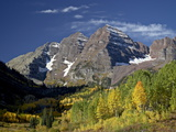 Maroon Bells With Fall Color, White River National Forest, Colorado, USA Photographic Print by James Hager