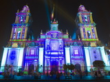Light Show at Cathedral Metropolitana, District Federal, Mexico City, Mexico, North America Photographic Print by Christian Kober