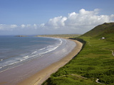 Rhossili Beach in Spring Morning Sunshine, Gower Peninsula, County of Swansea, Wales, Uk Photographic Print by Peter Barritt