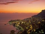 Monte Carlo at Sunset, Monaco, Cote D'Azur, Mediterranean, Europe Photographic Print by Sergio Pitamitz