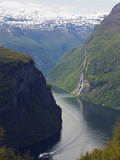 Tourist Cruise Ship on Geiranger Fjord, Western Fjords, Norway, Scandinavia, Europe Photographic Print by Christian Kober