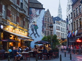 Outdoor Cafes and Brousaille Wall Mural of a Couple Walking Arm in Arm, Brussels, Belgium, Europe Photographic Print by Christian Kober