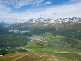 View of Celerina and St. Moritz From Top of Muottas Muragl, Switzerland, Europe Photographic Print by Michael DeFreitas