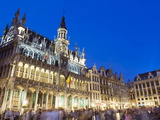 Hotel De Ville (Town Hall) in the Grand Place Illuminated at Night, Brussels, Belgium, Europe Photographic Print by Christian Kober