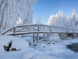 Wooden Footbridge in Winter, Oulanka National Park, Finland, Scandinavia, Europe Photographic Print by Guy Edwardes