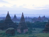Buddhist Temples at Dawn, Bagan (Pagan) Archaeological Site, Mandalay Division, Myanmar (Burma) Photographic Print by Sergio Pitamitz