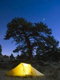 Tent Illuminated Under the Night Sky, Rocky Mountain National Park, Colorado, USA Photographic Print by Christian Kober