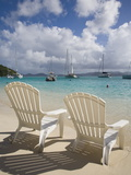 Two Empty Beach Chairs on Sandy Beach on the Island of Jost Van Dyck in the British Virgin Islands Fotografie-Druck von Donald Nausbaum