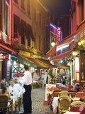 Outdoor Dining in Narrow Street of Restaurants, Brussels, Belgium, Europe Photographic Print by Christian Kober