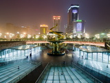 Tianfu Square at Night, Chengdu, Sichuan, China, Asia Photographic Print by Charles Bowman