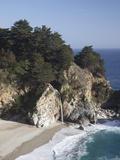 Waterfall and Beach at Julia Pfeiffer Burns State Park, Near Big Sur, California Photographic Print by Donald Nausbaum