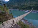 Giant Hanging Bridge Above the Siang River, Arunachal Pradesh, Northeast India, India, Asia Photographic Print by Michael Runkel