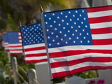 Us Flags Attached to a Fence in Key West, Florida, United States of America, North America Photographie par Donald Nausbaum