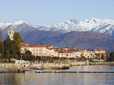 Snow Capped Mountains Above Stresa Waterfront, Lake Maggiore, Italian Lakes, Piedmont Photographic Print by Christian Kober