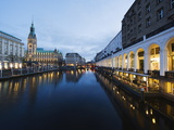 Rathaus (City Hall) Illuminated at Night Reflected in a Canal, Hamburg, Germany, Europe Photographic Print by Christian Kober