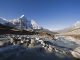 Mountain Stream and Ama Dablam, 6812M, Sagarmatha National Park, Himalayas Photographic Print by Christian Kober