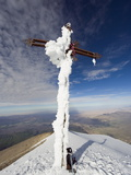 Cross on Summit of El Misti Volcano, 5822M, Arequipa, Peru, South America Photographic Print by Christian Kober