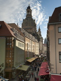 Frauenkirche Looming Over Shopping Area, Dresden, Saxony, Germany, Europe Photographic Print by Michael Snell