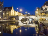 Reflection of Arched Bridge and Waterfront Town Houses, Ghent, Flanders, Belgium, Europe Photographic Print by Christian Kober