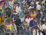 Busy Rickshaw Traffic on a Street Crossing in Dhaka, Bangladesh, Asia Photographic Print by Michael Runkel