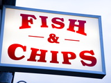 Fish and Chips Sign in Conwy, Clwyd, Wales, United Kingdom, Europe Photographic Print by Donald Nausbaum