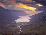 Sunset Over Fjardardalur Valley and Mjoifjordur Fjord, East Fjords Region (Austurland), Iceland Photographic Print by Patrick Dieudonne