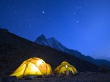 Illuminated Tents at Island Peak Base Camp, Sagarmatha National Park, Himalayas Photographic Print by Christian Kober