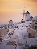 Oia (Ia) Village and Windmill, Santorini, Cyclades, Greek Islands, Greece, Europe Photographic Print