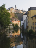 Town Houses Reflected in Canal, Grund District, Luxembourg City, Grand Duchy of Luxembourg Photographic Print by Christian Kober