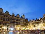 Guildhalls in the Grand Place Illuminated at Night, UNESCO World Heritage Site, Brussels, Belgium Photographic Print by Christian Kober