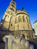 Face Sculpture Below Bonn Cathedral, Bonn, North Rhineland Westphalia, Germany, Europe Photographic Print by Christian Kober